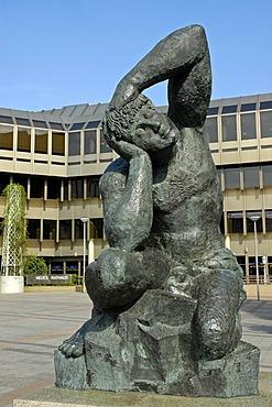 New town hall, sculpture by Sandro Chia, Bielefeld, North Rhine-Westphalia, Germany