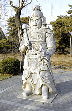 Statue of a general walking the path of souls, Ming Dynasty Tombs, north of Beijing, China, East Asia