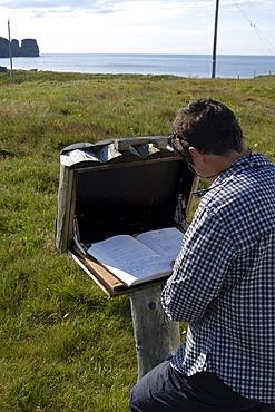 Guest book at the farm Nupskatla on the Melrakkasletta peninsula Iceland MR