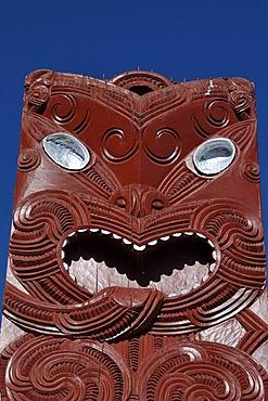 Wood carvings, Maori village, Whakararewa, Rotorua, Nord Island, New Zealand