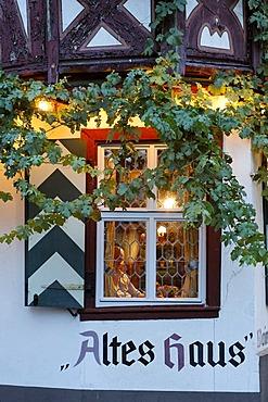 A cosy restaurant called Old House, Bacharach on the Rhine, Rheinland-Pfalz, Germany