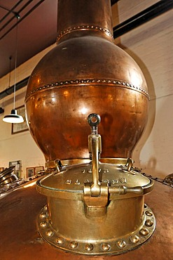 An old pot still (a giant copper kettle) used for the distillation in the Bushmills Whiskey Distillery, Bushmills, Londonderry, North Ireland