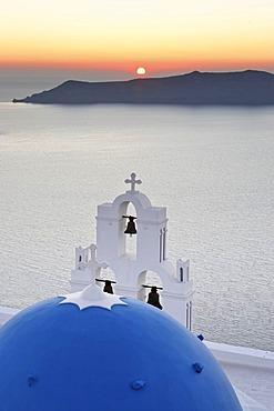 Church at Firostefani at sunset, Firostefani, Santorini, Greece