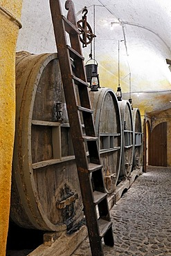 Big barrels in the vine cellar, wine museum and vinery Koutsouyanopoulos, Santorini, Greece