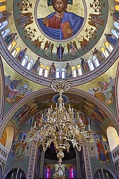 Interior view of the greek orthodox church Mitropolis Ypapanti, Thira, Santorini, Greece