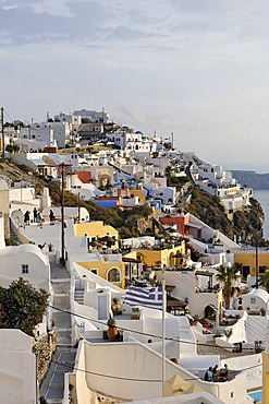 The village of Firostefani with the typical small alleys and the white painted houses, Firostefani, Santorini, Greece