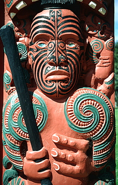 Maori art painted face and three fingers New Zealand