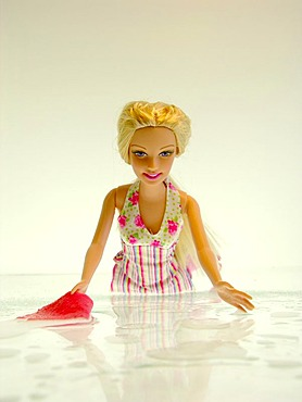 A blond Barbie doll kneels in a flower dress before white background on a white soil with finery water and a cloth to clean the floor