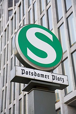 Rapid-transit railway sign at Potsdamer Platz, Berlin, Germany, Europe