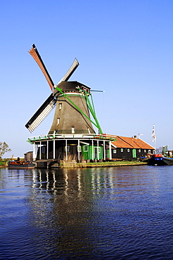 Windmill at an open-air museum, Zaanse Schans museum village, Netherlands, Europe
