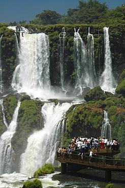 Waterfalls, tourists on viewing platform, Iguacu, Brazil, South America
