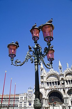 Lantern in Piazza San Marco Square, San Marco Cathedral in the back, Venice, Veneto, Italy, Europe