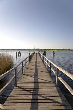Wooden pier, Sieseby, on the Schlei Inlet, Schleswig Holstein, Northern Germany, Europe