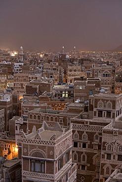 Evening mood, historic centre of Sanëaí, UNESCO World Heritage Site, Yemen, Middle East