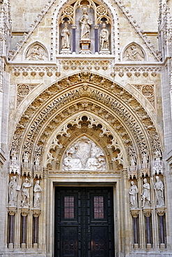 Ornate stonework at the entrance to the Zagreb Cathedral, Zagreb, Croatia, Europe