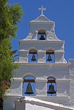 Basilica, bells of Mission San Diego de Alcala, San Diego, California, USA