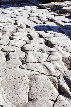 Ruts on a street, Pompei (Pompeii), Campania, Italy