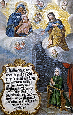 Votive image from 1745 for the saving from a terminal illness, Kirchwald Pilgrimage Church near, Nussdorf, Bavarian Inntal, Upper Bavaria, Germany, Europe