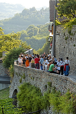 People on the city wall, Canelli, Asti Province, Piemont, Italy
