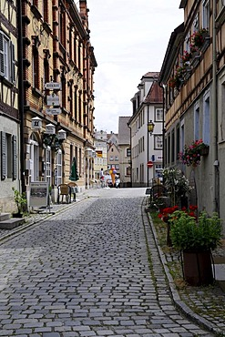 Alley with cobblestone paving, Weikersheim, Baden-Wuerttemberg, Germany, Europe
