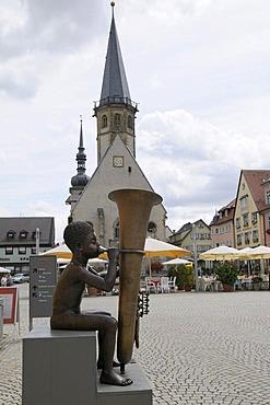Trumpeter, bronze figure in front of the Evangelische Kirche, Weikersheim, Baden-Wuerttemberg, Germany, Europe
