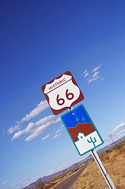Historic Route 66 road sign, USA