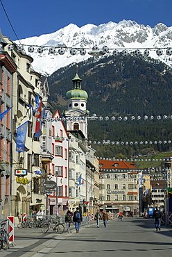 Historic centre of Innsbruck decorated with street lights in the shape of footballs for the 2008 UEFA European Football Championship, Karwendel Mountain Range of the Alps at back, Innsbruck, Tyrol, Austria, Europe