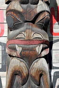 Totem pole at Ksan Historical Village, British Columbia, Canada