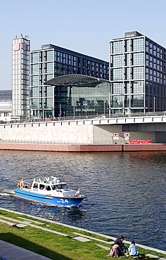 Police boat in front of Berlin Central Station at the river Spree, Germany, Europe