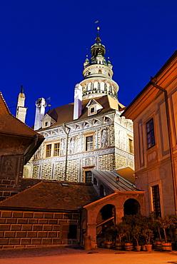 Schwarzenberg Castle in the historic centre of Cesky Krumlov, Krumau, Unesco World Heritage Site, South Bohemia, Czech Republic, Czechia, Europe