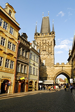 Riverside lane with Lesser Quarter Bridge tower, UNESCO World Heritage Site, Prague, Czech Republic, Czechia, Europe