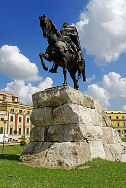 Skanderbeg monument in Skanderbeg Square in Tirana, Albania, Europe