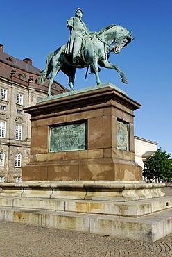 Horse and rider in bronze on Christiansborg Castle Square, Copenhagen, Denmark, Scandinavia, Europe
