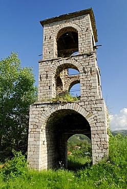 Tower, ruin, historic orthodox Church of St. Ilias, Voskopoje, Albania, the Balkans, Europe
