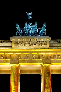 Brandenburger Gate with Quadriga at night Berlin Germany