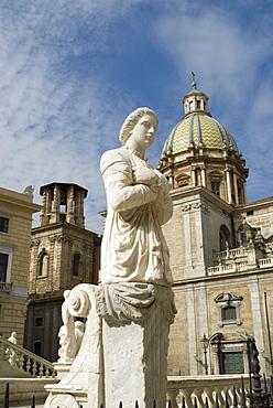 Fountain statue at Piazza Pretoria and San Giuseppe dei Teatini Church, Palermo, Sicily, Italy