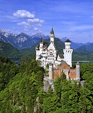 Neuschwanstein Castle in summer, Panorama, Alp lake, Fuessen, Thannheimer Mountains, Allgaeu, Bavaria, Germany