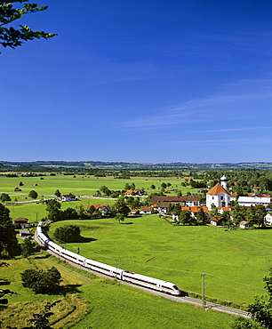 Panoramic view of Eschenlohe featuring the ICE Inter City Express high-speed train, Loisach Valley, Upper Bavaria, Germany, Europe
