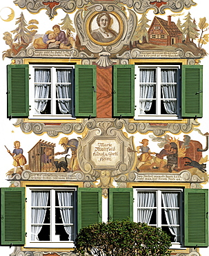 Hansel and Gretel Home, facade painted by Marie Mattfeld, Oberammergau, Upper Bavaria, Bavaria, Germany, Europe