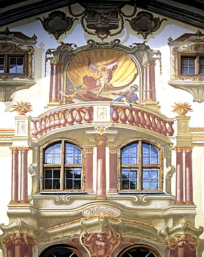 Pilatus House by Frank Zwick, painted facade, Oberammergau, Upper Bavaria, Bavaria, Germany, Europe