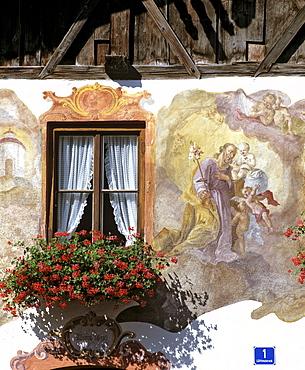 Painted facade, Oberammergau, Upper Bavaria, Bavaria, Germany, Europe
