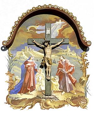 Crucifixion, painted facade, Oberammergau, Upper Bavaria, Bavaria, Germany, Europe