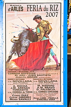 Bullfight Poster, Arles, Provence-Alpes-Cote d'Azur, France