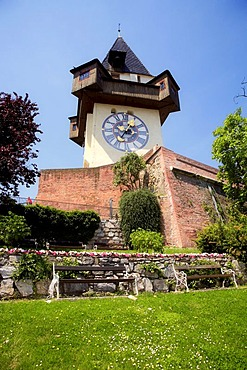 Grazer clock tower on the castle mountain in Graz, Styria, Austria