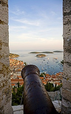 Look of the fortress Spanjola on the harbour of Hvar, Island Hvar, Dalmatia, Croatia