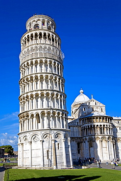 Leaning tower of Pisa with Cathedral Piazza dei Miracoli Pisa Tuscany Italy