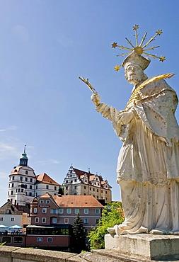View to the castle, castles chapel, castles museum, Bavarian State Galery, Elisen bridge, City of Neuburg at the river Donau founded as maintown of principality Pfalz-Neuburg 1505, Bavaria, Germany, BRD, Europe