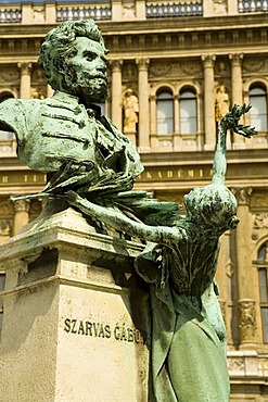 Statue of Szarvas Gabor in front of the Hungarian Academy of science, Budapest, Hungary, Southeast Europe, Europe,