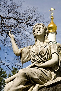 New Maidens Monastery, Angel statue of a tomb in front of the Smolensk Cathedral, Moscow, Russia, East Europe, Europe