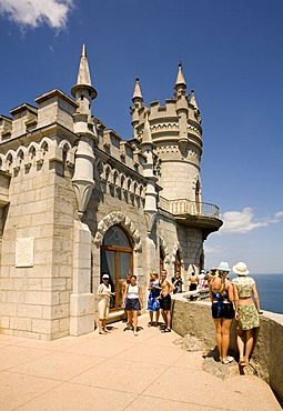 Tourists at the Castle, The Castle Swallow Nest at the Cape Air-Todor, Jalta, Crimea, Ukraine, South-Easteurope, Europe,